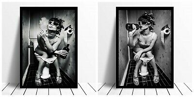 Girl On The Toilet Smoking Drinking Gptt01 A3 A4 Poster Print Buy 2 Get 1 Free