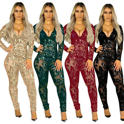 Sexy Deep V Neck Perspective Sequin Jumpsuit Womens Clubwear Bodycon Playsuit