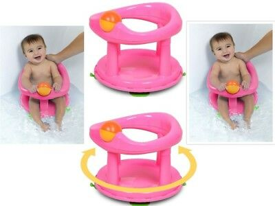 Best Safety 1st Swivel Bath Seat Pink Rotating Baby Bathing Chair Support NEW