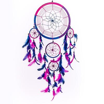 Caught Dreams Dream Catcher ~ Handmade Traditional Royal Blue, Pink and...