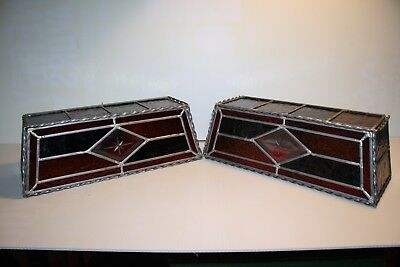 2 Vintage Hand Made Crafted Soldered Light Fixture Wall Sconce 1970s Stain Glass