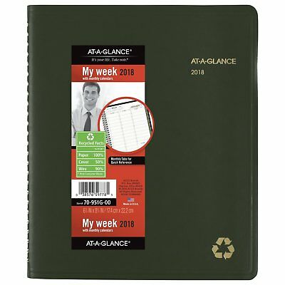 """At-A-Glance W/Monthly Jan 2018-Dec 2018, 6-7/8""""x 8-3/4"""" 70-951G-00 Green"""