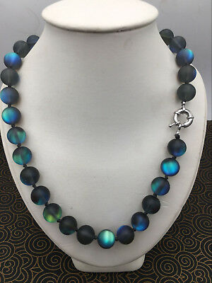 Natural 6/8/10/12mm Gray Gleamy Rainbow Moonstone Round Gems Necklace 18''
