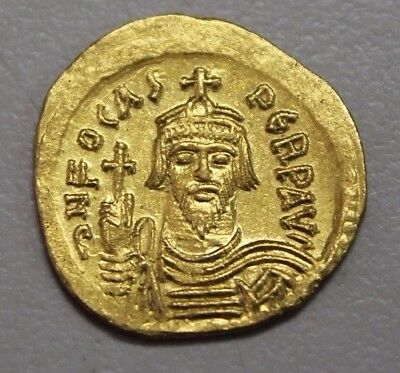 Byzantine Empire Phocas 602-610 AD Solidus Gold Coin