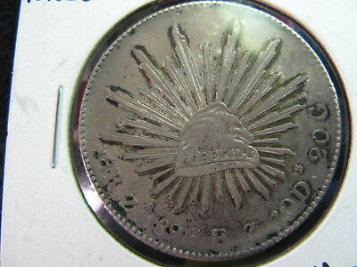 MEXICO A SILVER 8 REALES COIN DATED 1896 Zs FZ KM#377.13, VERY CHOICE AU+ TONED