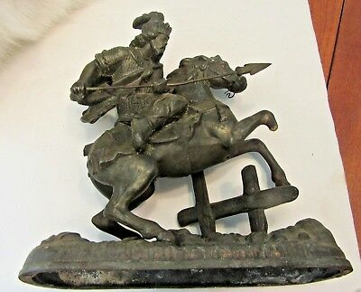 Vintage Antique Cast Metal Statue / Rider With Spear