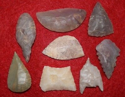 8 Sahara Neolithic varied tools, crescent blades, scrapper, scribe, etc...