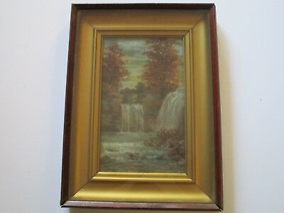 Antique 19Th Century American Landscape Painting Small Gem Signed Cook Waterfall