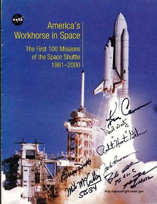 NASA Space Shuttle First 100 Missions booklet multi signed cover