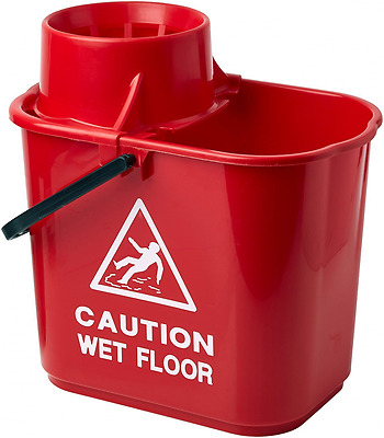 Plastic Mop Bucket with Wringer 15L  Red