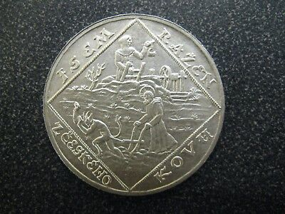 1928 CZECHOSLOVAKIA 5 DUCATS SILVER MEDAL WITH DEVIL RARE! Beautiful Condition