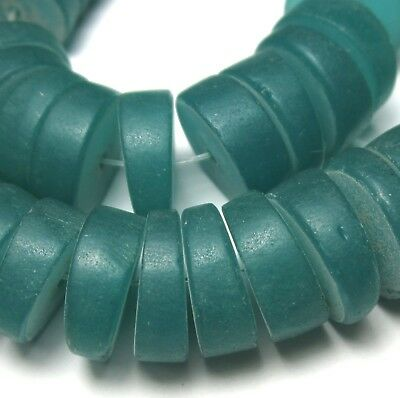 50 Rare Amazing Large Old Teal Czech Disk Antique Beads African Trade