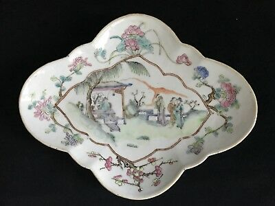 19th Century Antique Chinese Famille Rose Porcelain Footed Stem Plate