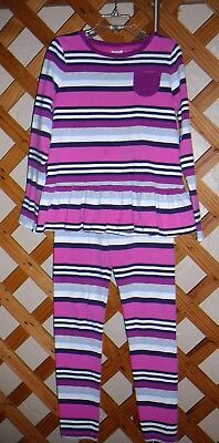 GYMBOREE OUTFIT~Leggings & Long Sleeve Top~Pink Navy Grey~Girls Size 8