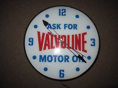 Rare Vintage Valvoline Motor Oil Lighted Pam Clock Gas Service Station Sign
