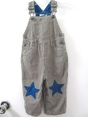 mini boden boys 18 -24 months brown striped overalls Blue star patch knees