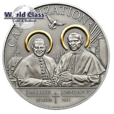 Tanzania 2014 1000 Shillings Canonization of the Popes 20g Silver Antique Coin
