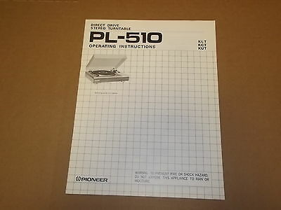 Pioneer PL-510 Stereo Turntable Original Operating Instructions Owners Manual