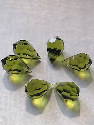 Lot 6 pcs 10mm Swarovski Crystal Briolette Teardrop Beads in Olive Green Retired