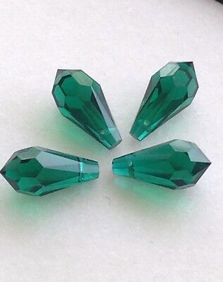 Lot 4pcs 16mm Swarovski Crystal Prism Briolette Pendant Drop Bead in Emerald
