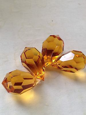 Lot 4 pcs 20mm Vintage Swarovski Crystal Briolette Drop Prism Bead in Topaz