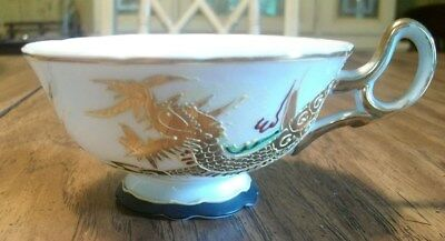 GEM CHINA DRAGON SANSEI TEA CUPS TWO (2), made in Japan, handpainted