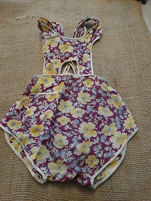 Vintage little girls romper made from feed sack fabric 1930-40s GREAT cond