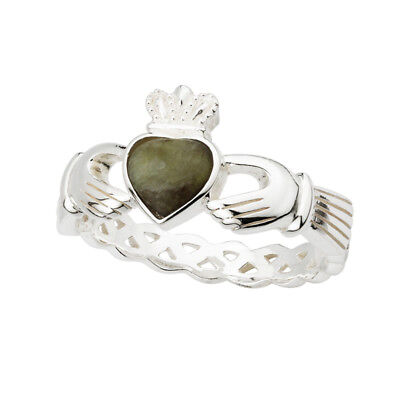 Celtic Weave Claddagh Ring Connemara Marble & Silver Made in Ireland