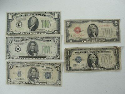 Vintage 1928 & 1934 (5) Bill Lot Red, & Green Seal & Silver Certificates
