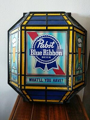 (VTG) 1986 Pabst Blue Ribbon Beer Stain Glass Look Light Up Sign Game Room Bar