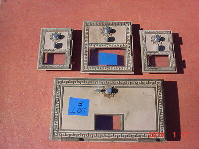 4 Vintage 1956 Federal Brass Post Office Box Doors Large, Medium, Small Lot E