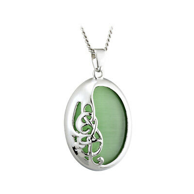 Book of Kells Necklace Green Cat Eye Rhodium Plated Irish Made