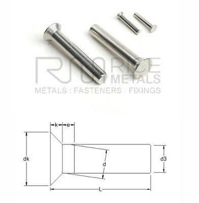 Countersunk Head SOLID Rivets STAINLESS STEEL Din 661 Sizes 2mm 3mm 4mm 5mm 6mm