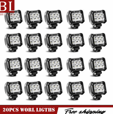 20X 48W Spot LED Off Road Work Light Lamp 12V 24V Car Boat Truck Jeep Square ATV