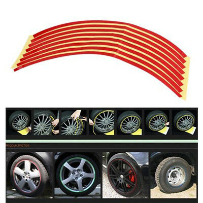 16pcs Car Motorcycle Wheel Hub Rim Reflective Tape Stripe Decal Sticker Red