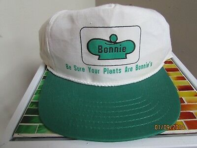 New Old Stock Vintage BONNIE'S PLANTS Snapback Cap Green White Stained Cobra
