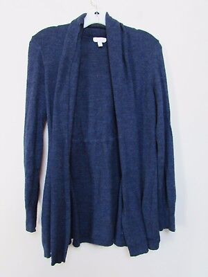 women size L Maternity A PEA IN THE POD Navy Blue Open Front Sweater 100% Wool