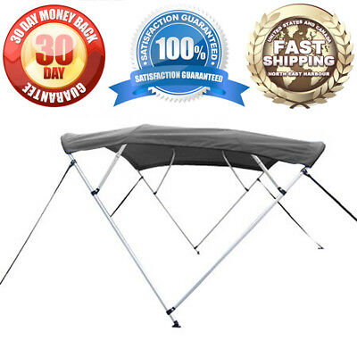 "New Gray Bimini Top Kit With Mounting Hardware - 8'l 4-Bow Cover 85""-90"" Width"
