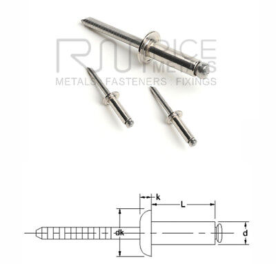 Domed Head Blind (pop) Rivets Aluminium Rivets & Steel Rivets Sizes 2.4mm-6.4mm