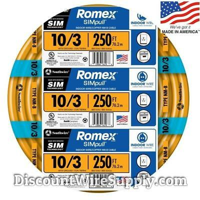 Romex 250' 10/3 Gauge SIMpull NM-B Indoor Copper Electrical Wire 10 3 AWG Roll