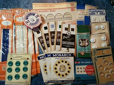 Lot of 32 Vintage Sewing Notions NOS Buttons Zippers Taffeta Snaps Pins