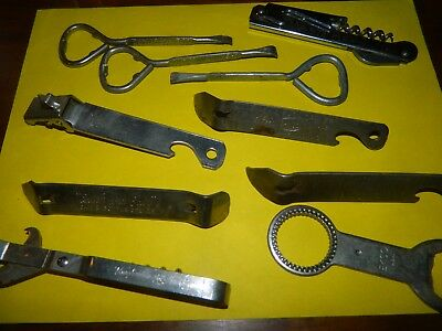 Lot of 10 Vintage Bottle Can Advertising Openers, Cork Screws Hardware Co. Opene