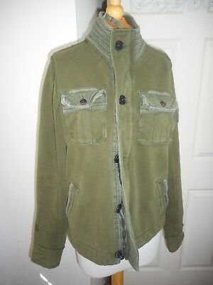 EUC Abercrombie & Fitch Olive Green Military Style Jacket Zip & Button SZ M