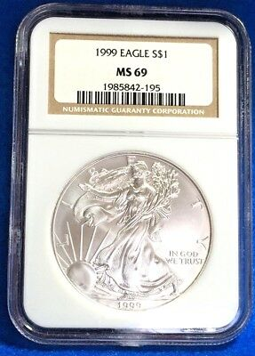 1999 Silver American Eagle .999 Silver NGC MS69 Brown Label