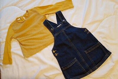 Girls Outfit Zara Top Next Pinafore 2-3Years