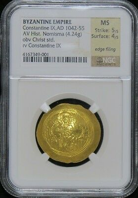 Byzantine Empire Constantine IX,AD 1042-55 NGC Strike 5/5 Surface 4/5  Gold Coin