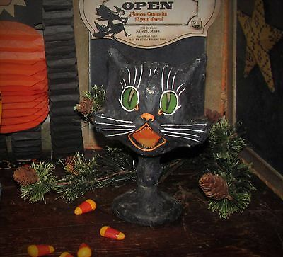 Primitive Antique Vtg Style Retro HALLOWEEN PAPER MACHE BLACK SASSY CAT GOBLET