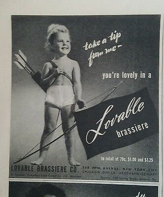 1945 topless little girl underwear bow arrow lovable brassiere bra fashion ad