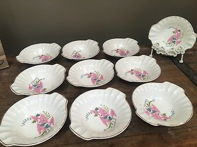 10 W.S. George Pink Calidums Lugged Handled Cereal Soup Bowls