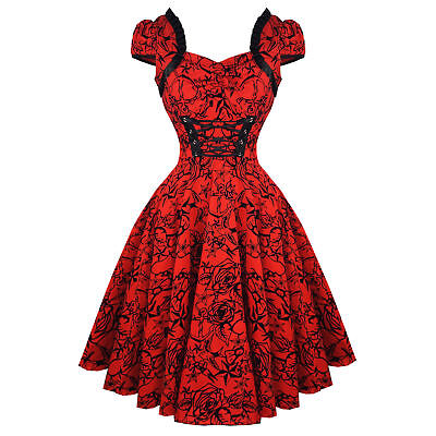 Hearts & Roses London Red Tattoo 1950s Rockabilly Vintage Party Prom Dress UK 8